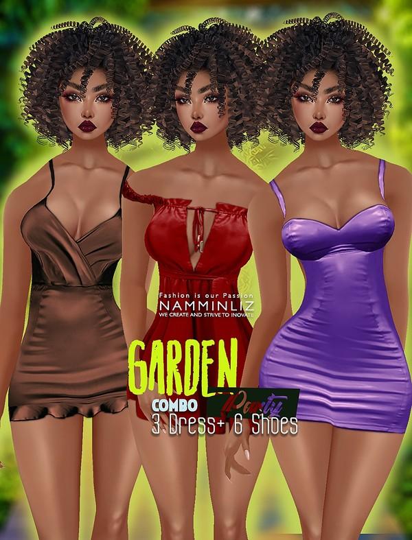 Full Garden Party Combo Dress Kristof + Bibirasta Shoes Textures PNG CHKN