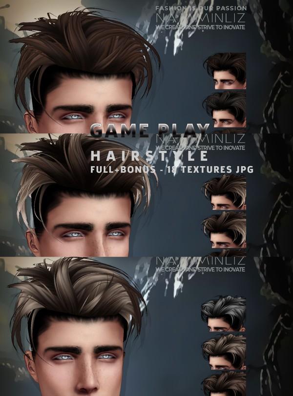 GAME PLAY HAIRSTYLE Full + Bonus 3 - 18 Hairstyle Textures JPG