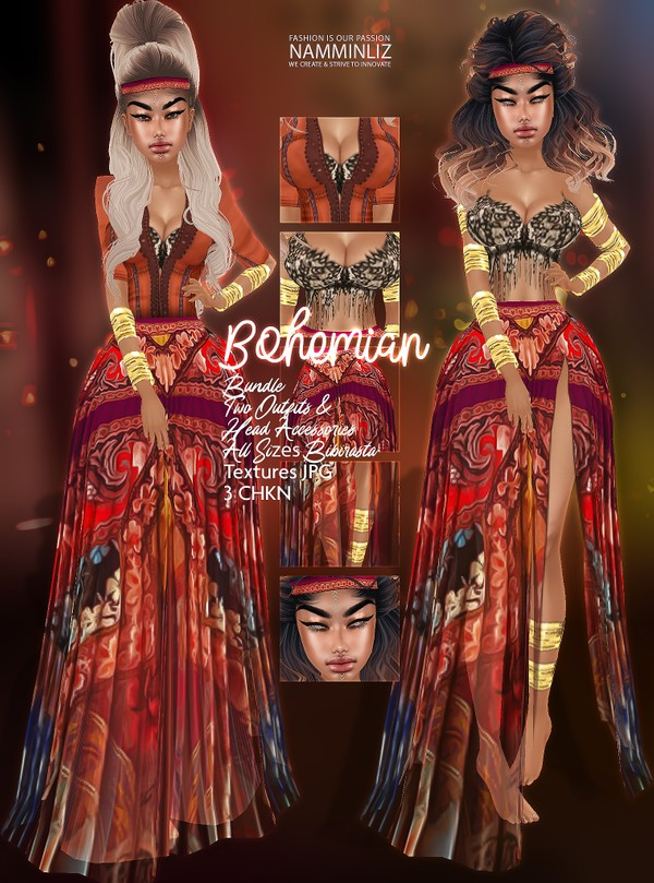 Bohemian Bundle Two Outfits all sizes bibirasta & Head Accessories Textures JPG 3 CHKN