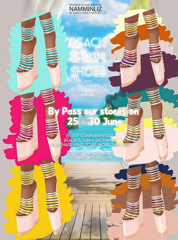 By Pass our store on 25 to 30 June to get a complimentary Beach & Sun Shoes Box Textures JPG 6 CHKN