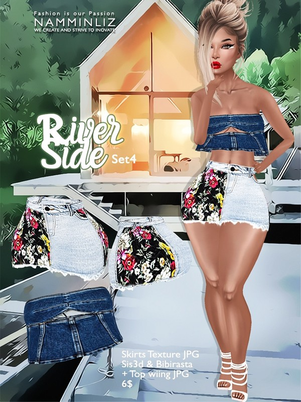 River Side  Set 4 ( Skirts JPG Textures bibirasta sis3d + Wiing Top )