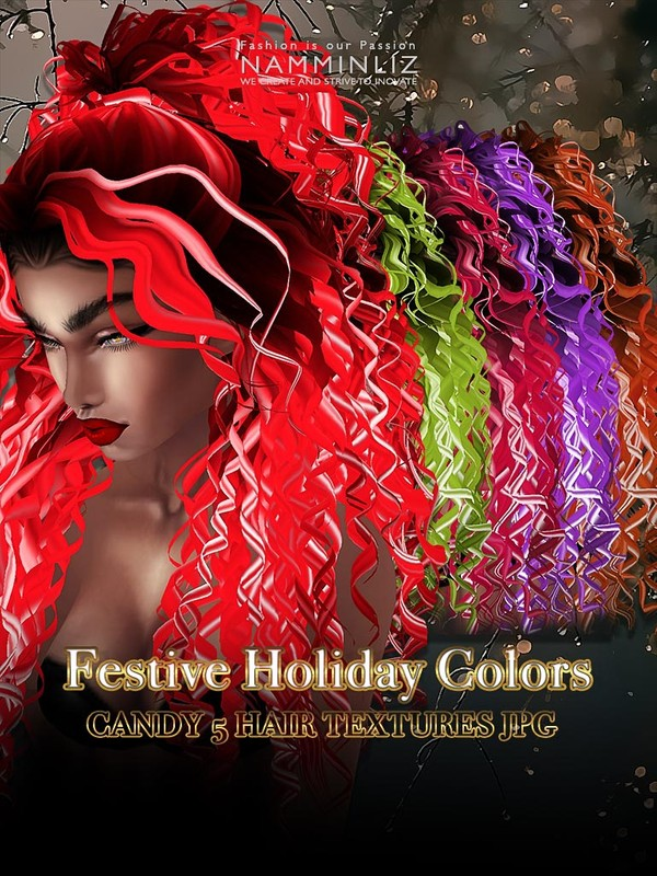 Festive Holiday colors Candy 5 hair textures JPG