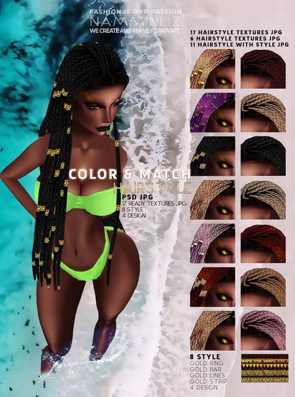 Color & Match Realistic Braids Hairstyle PSD 17 hairstyle Textures JPG
