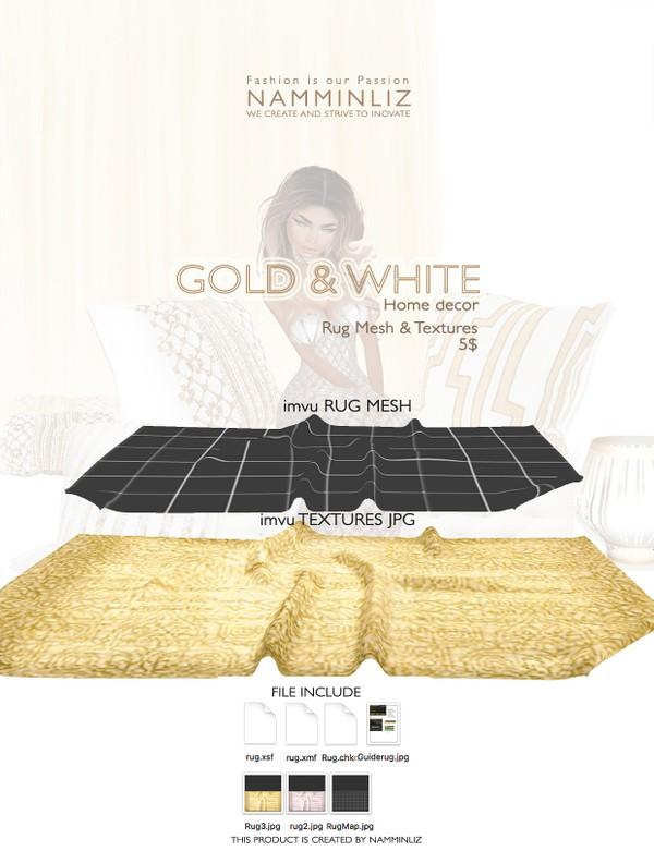 Gold & White imvu Rug mesh & texture JPG, XSF, XMF, CHKN files