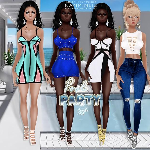 PoolParty combo2 ( 4 Dresses Bibirasta + Earrings )