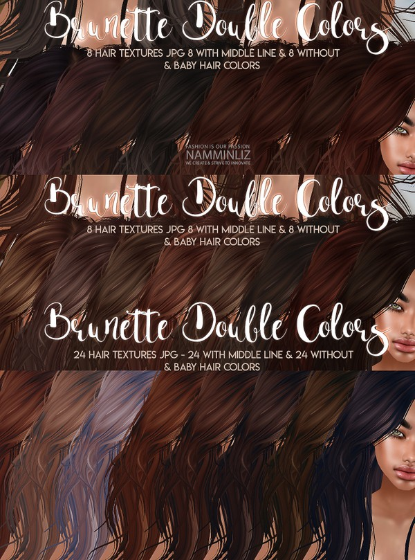 Brunette Double Colors Hair 24 Textures JPG with Midle line & Without & bb Hair Textures color