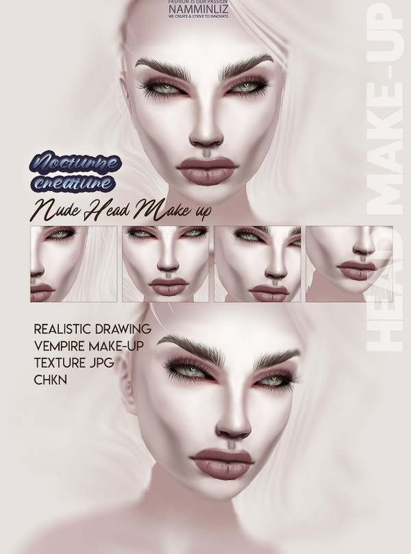 Nocturne Creatures Nude Head Make-up Textures JPG CHKN