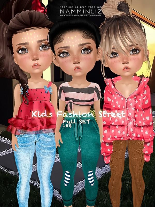 Kids fashion street Full SET ( 3Tops + 3Pants textures JPG bibirasta all sizes)