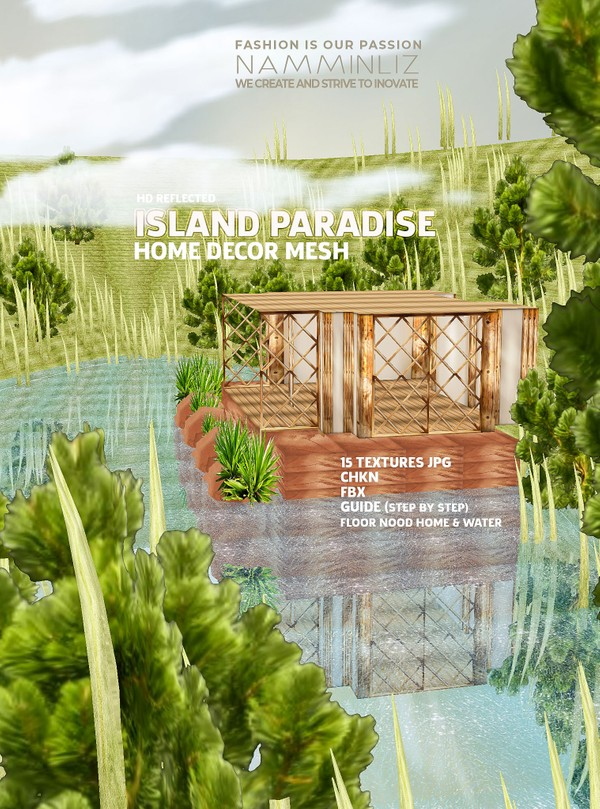 HD Reflected Island Paradise Home decor Mesh 15 Textures JPG, CKHN, FBX, Guide