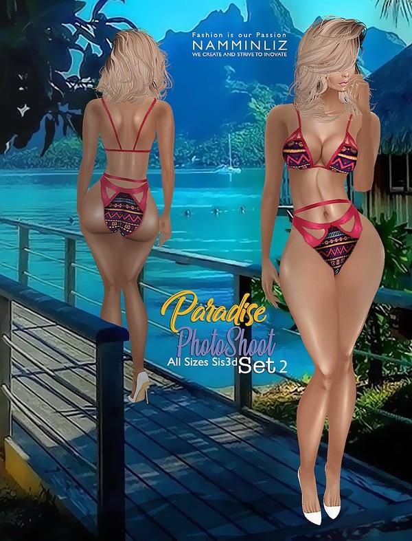 Paradise Bikini PhotoShoot  SET2 All size Sis3d IMVU Textures