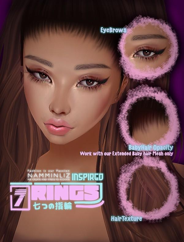 Ari Inspired 7 rings EyeBrows + BabyHair Opacity(WorkWithOurByhairExtendedMeshOnly ) + Hair Texture