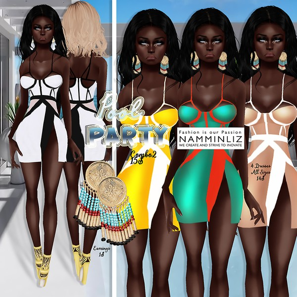 PoolParty combo2 ( 4 Dresses Bibirasta + Earrings )
