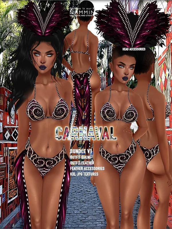 Carnaval Bundle V1 JPG Texture (KXL Feather Outfit & Accessories head) CHKN
