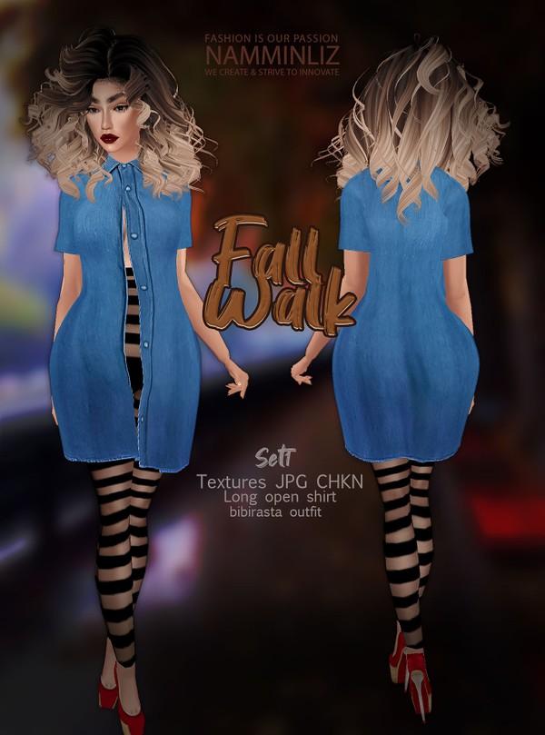 Fall Walk SET 1 Texture JPG CHKN (Long open shirt+ strip leggings)Bibirasta