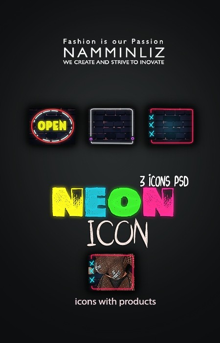 NEON V2 3 icons PSD collection
