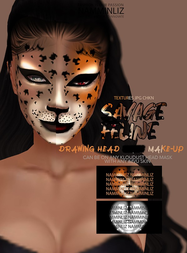 Savage Feline V2 Drawing Head Mask Make-up Textures JPG CHKN
