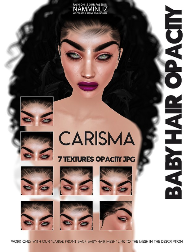 CARISMA 7 Baby hair Textures Opacity JPG (work with ourLarge Baby hair Mesh Link below)