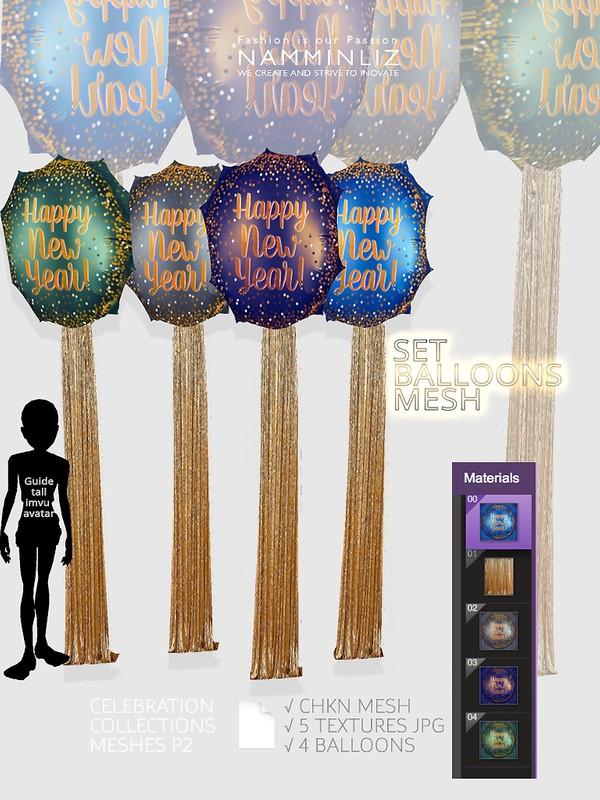 Set Balloons Mesh CHKN 5 Textures JPG