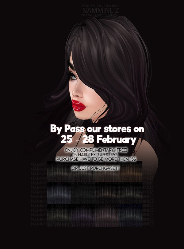 By Pass our stores on 25 - 28 February to get a complimentary 15 Hair Textures JPG