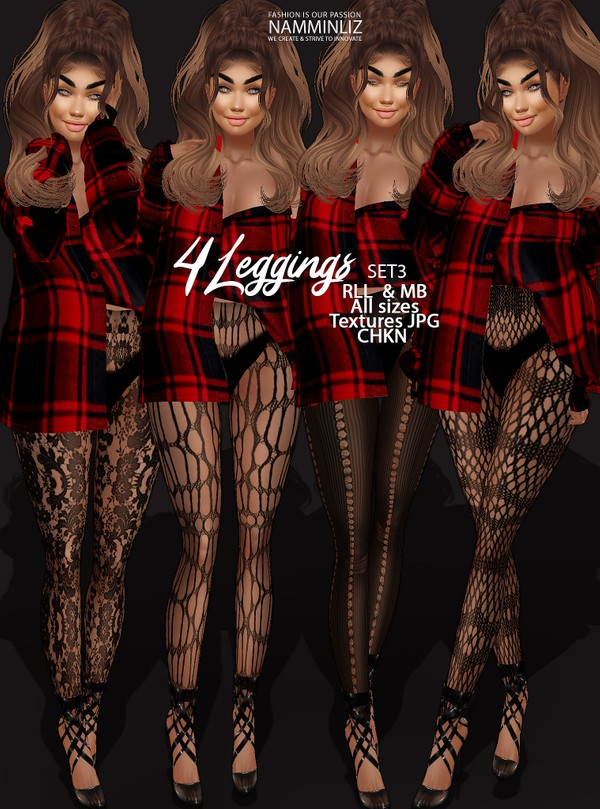 4 Leggings SET3 Textures JPG RLL & MB All sizes CHKN