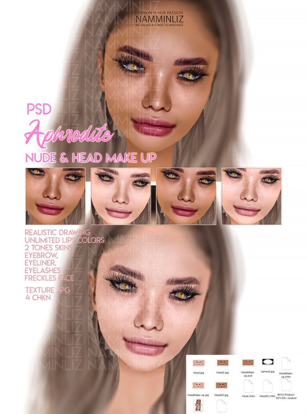Aphrodite Nude Make-up PSD Unlimited Lips colors - Realistic drawing Textures Limited 2 clients only