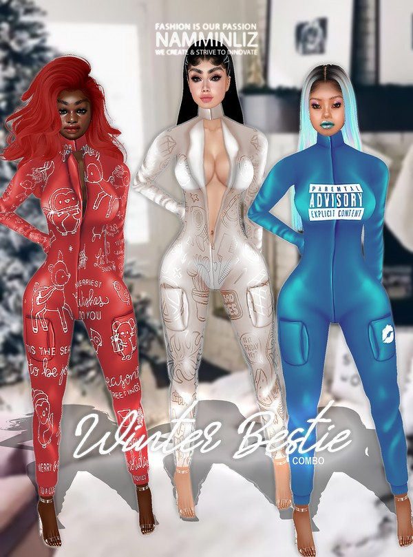 Winter Bestie Full Combo Jumpsuit L size Textures PNG CHKN ^  -  ^
