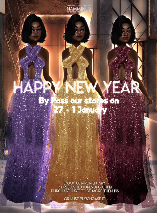 By Pass our stores on 27 - 1 January to get a complimentary 3 Dresses CHKN Texture JPG