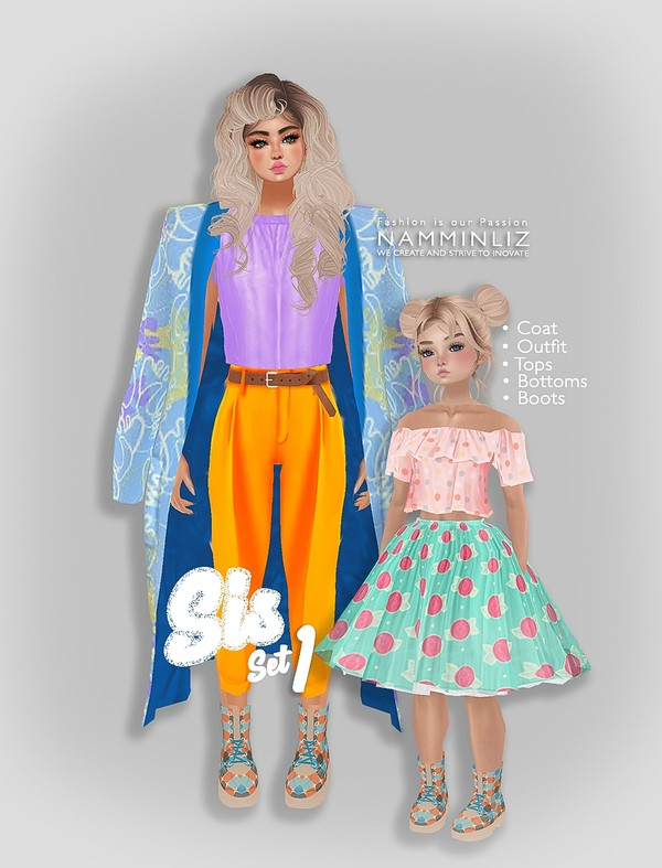 Sis Set1 Coat + Outfit + top + bottom + boots ( Textures PNG CHKN)