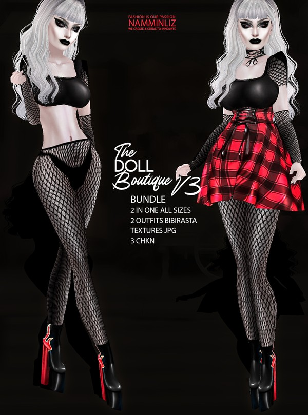 The DOLL Boutique Bundle V3 2in one All sizes 2 Outfits bibirasta & PVC Shoes Textures JPG 3 CHKN