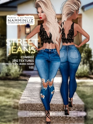 Street Jeans full combo2 Textures JPG Outfits ( Top + Jeans ) Sis3d