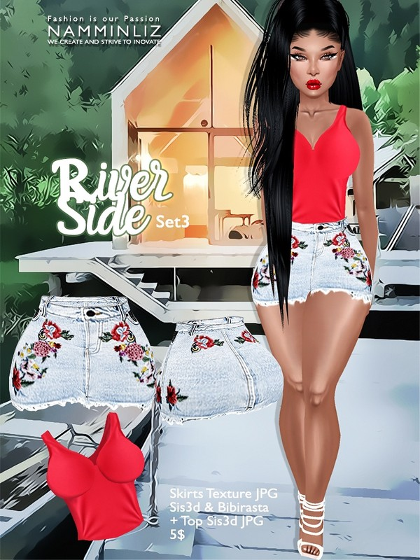 River Side  Set 3 ( Skirts JPG Textures bibirasta sis3d + Sis3d Top )