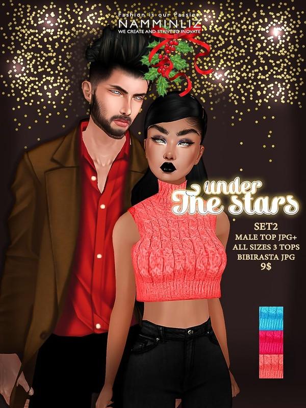 Under the Stars SET 2 (Male top JPG + All sizes 3 Tops Bibirasta JPG Textures)