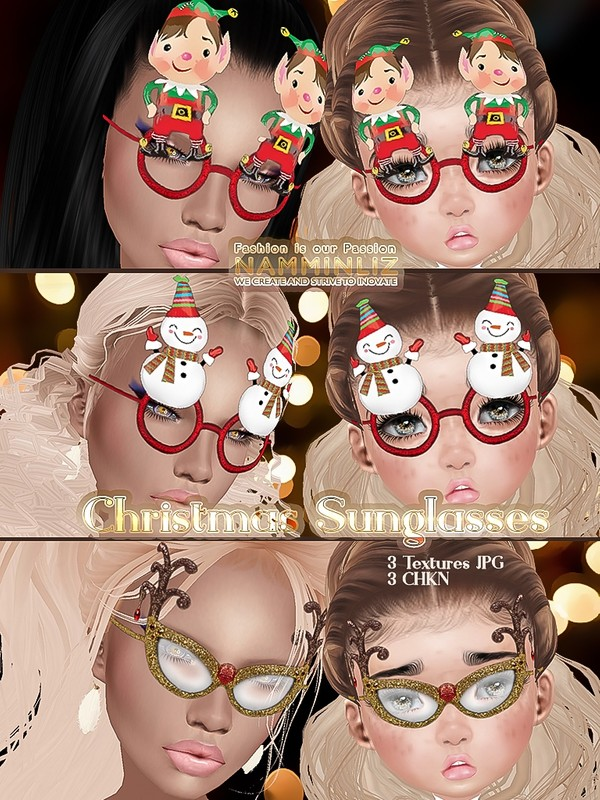Christmas sunglasses v1 ( 3 Textures JPG, 3 CHKN )