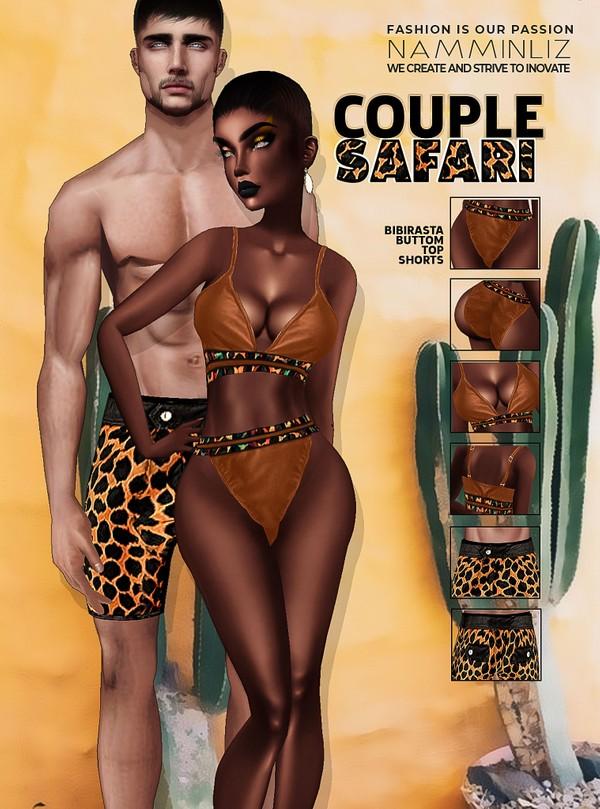 Couple SAFARI JPG Textures Bibirasta Top, Bottom, Shorts Bundle