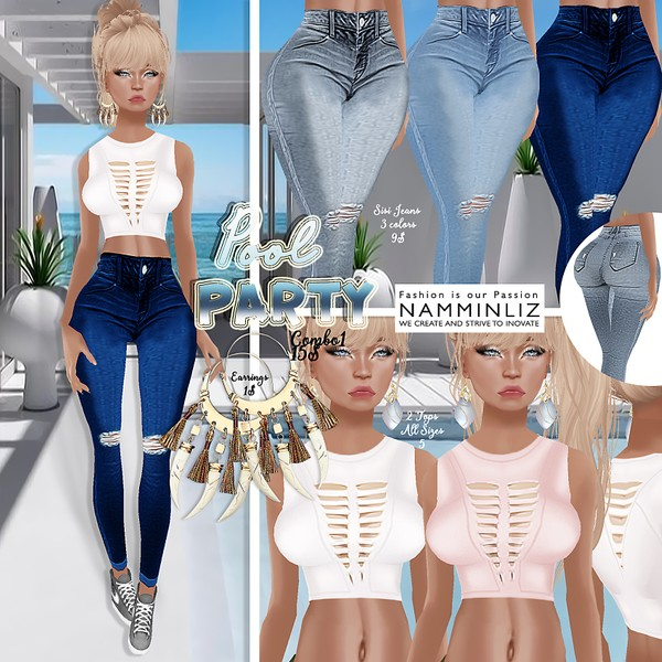 PoolParty combo1 ( 2Tops Bibirasta + 3Jeans Sisi3D &Bibirasta + Earrings)