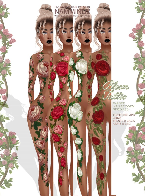 Bloom Tattoo Full SET Texture JPG CHKN sis3d RLL layer  4 Half Body Back/Front