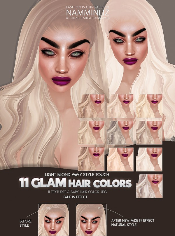 11 Glam Hairstyle Textures colors JPG + Baby hair Texture with Fade in Effect wavy Touch