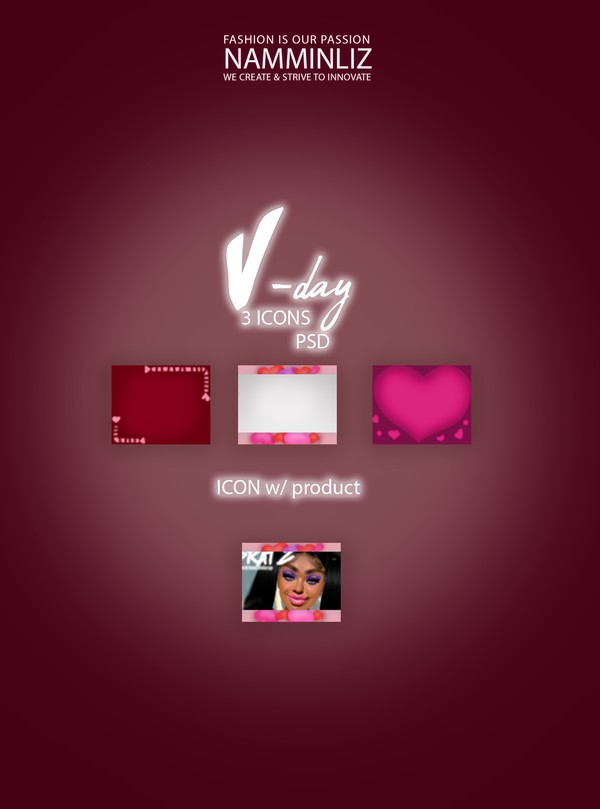 3 Vday ICONS PSD & PNG Textures