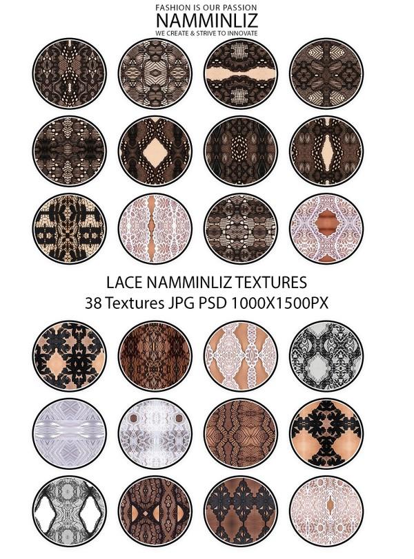 Lace NAMMINLIZ 38 Textures JPG PSD 1000x1500px