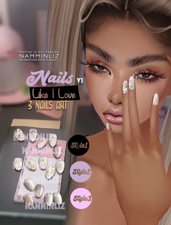 Nails Like I Love V1 3Nails Art Textures PNG CHKN