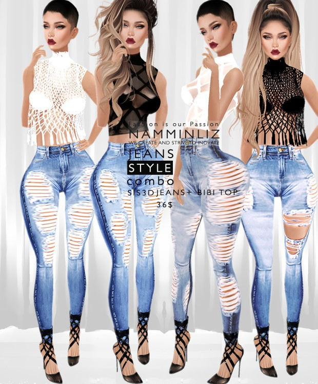 JEANS STYLE Combo4  •Sis3d Jeans + Bibi Top