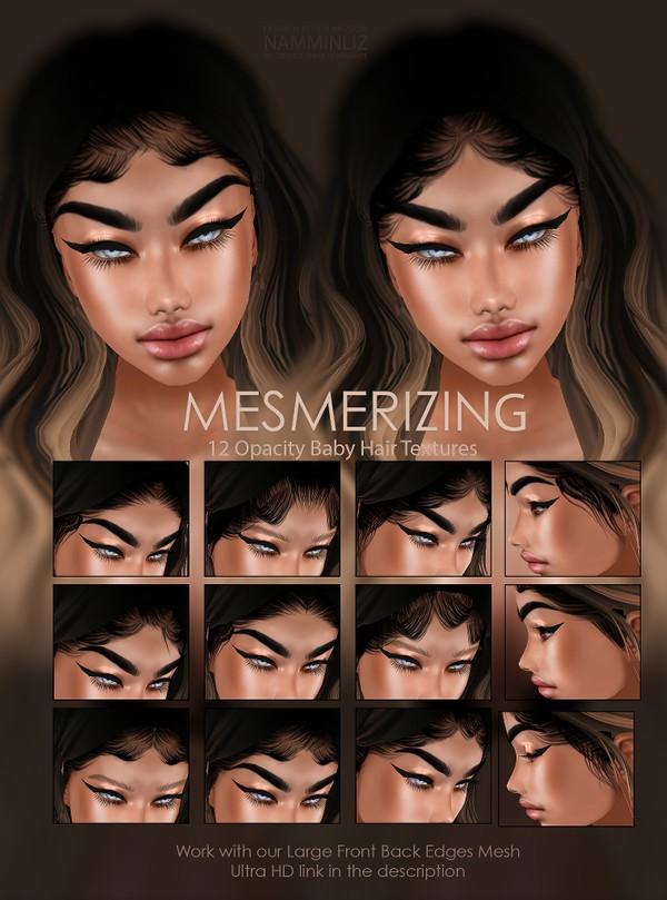 Mesmerizing 12 Opacity Baby Hair Textures jpg (work with our Large Baby hair Mesh Link below)