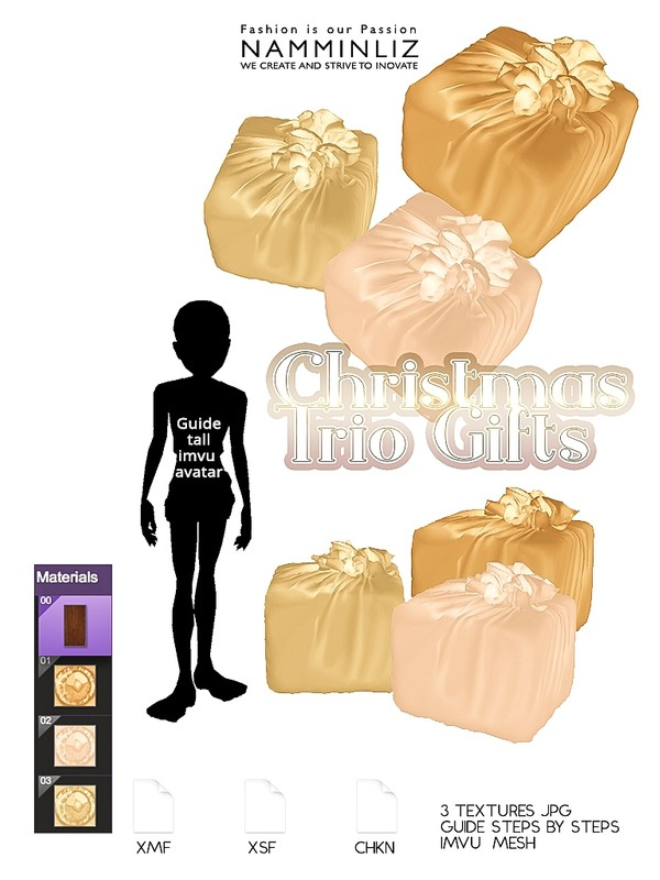 Christmas Trio Gifts (Textures 3 JPG - CHKN - XMF - XSF )