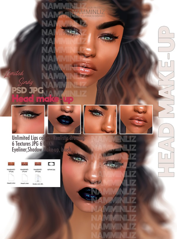 Sindy HeadMakeup PSD Unlimited Lips colors-Realistic drawing Textures JPG 2 CHK Limited 2