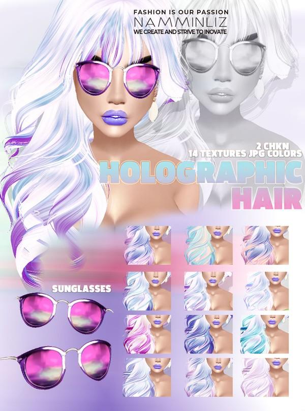 Holographic Hair 14 Textures JPG + Sunglasses - 2 CHKN