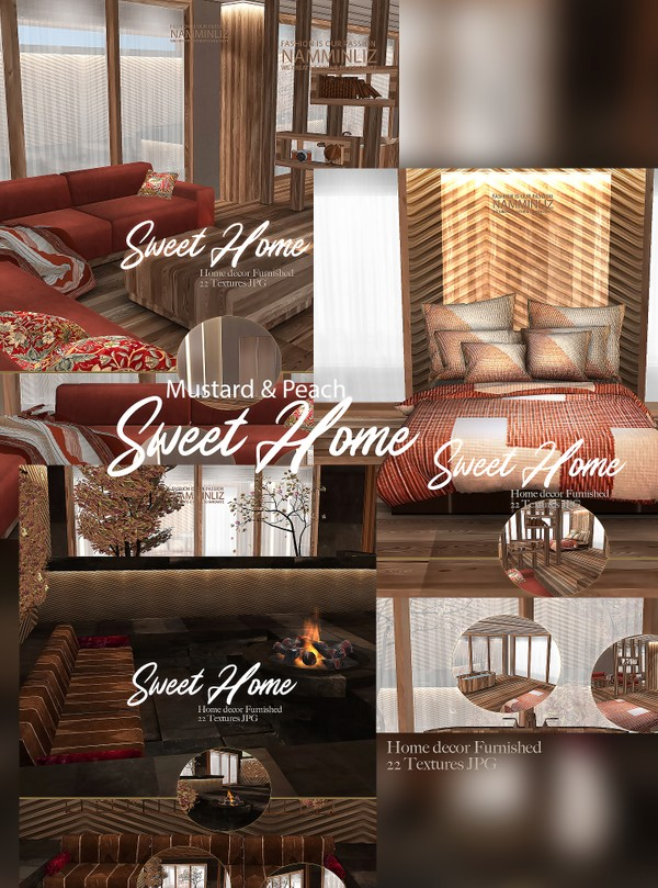 Sweet Home Mustard & Peach Home Decor Furnished 22 Textures JPG 1 CHKN (imvu link to derivable mesh)