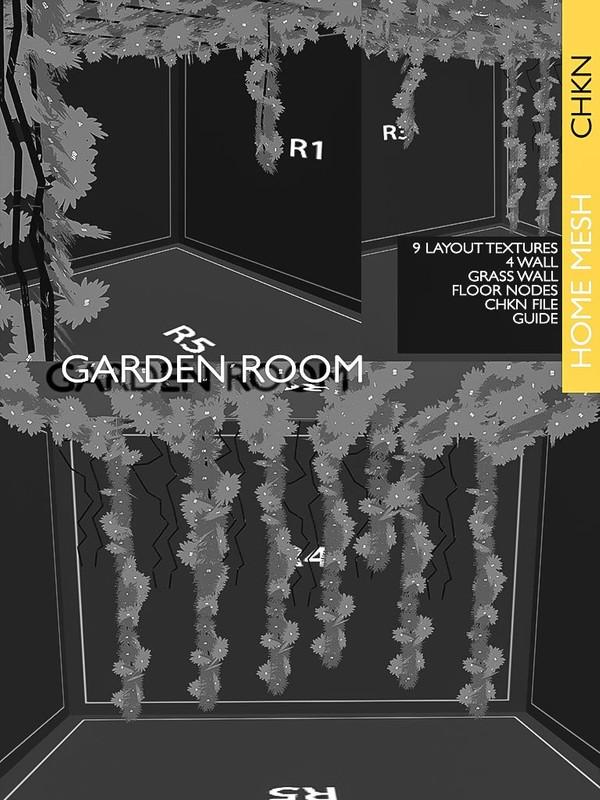 Garden Room Mesh CHKN file 9 Layout Textures 4 Walls Floor Nodes Grass wall