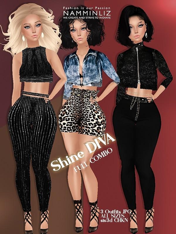 Shine Diva full combo JPG 3 Outfits all sizes sis3d CHKN