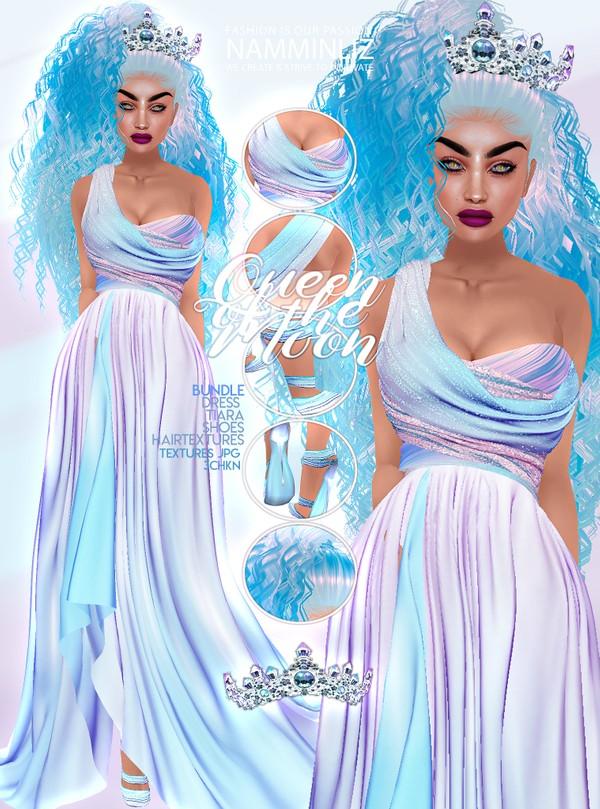 Queen of the Moon Bundle Dress & Shoes,Tiara, Hair Textures JPG 3CHKN