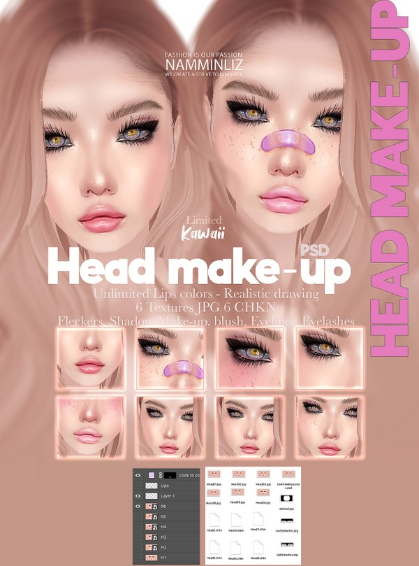 Kawaii 6 Head Make-up JPG CHKN Unlimited Lips colors PSD 2 Shade,Eyelashes, Eyeliner,Blush, Fleckers